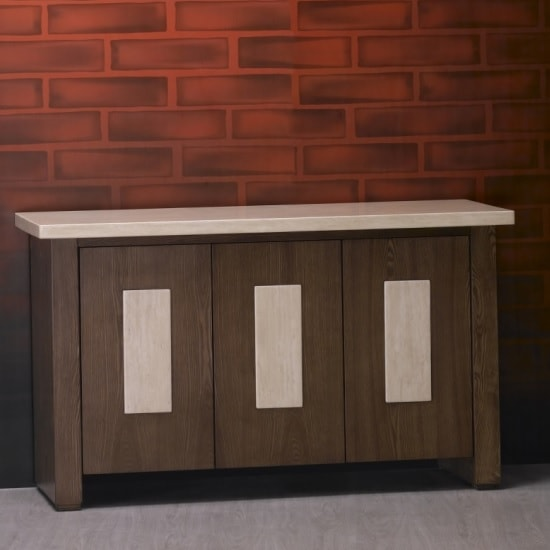 Serena Wooden Sideboard With Marble Top And 3 Doors