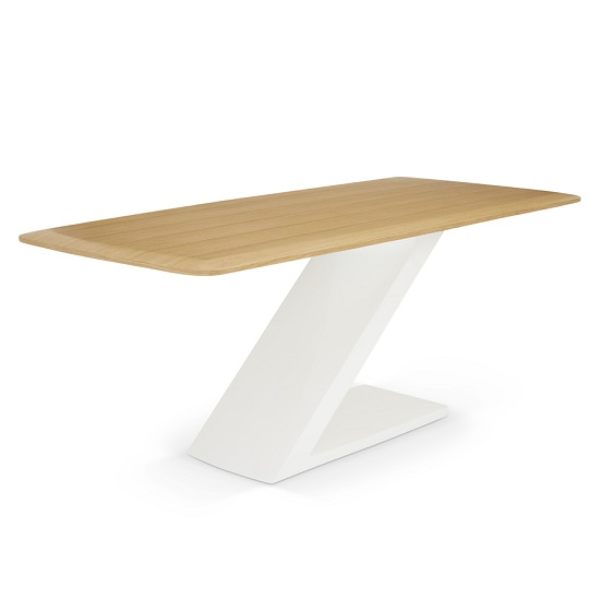 Serena Wooden Dining Table In Oak With High Gloss White Base