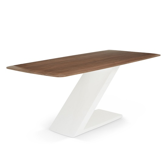 Serena Wooden Dining Table In Walnut With High Gloss White Base
