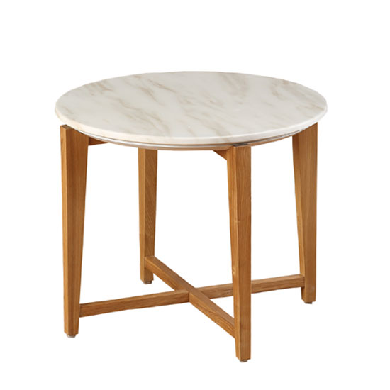 Serenity End Table Round In Marble Top With Wooden Legs