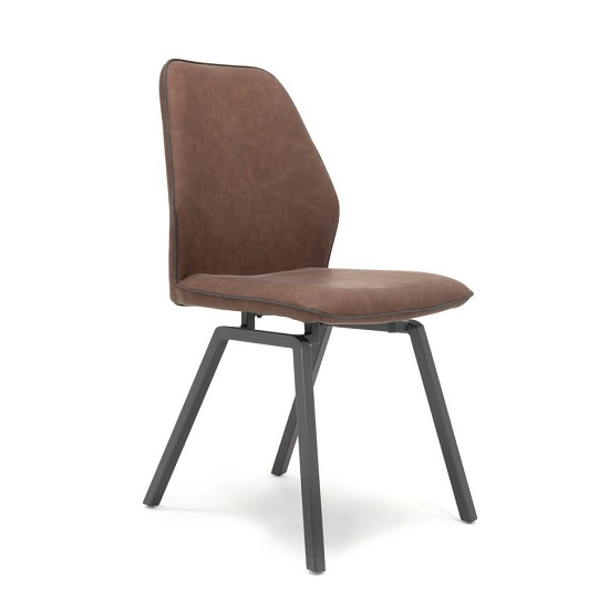 Sergio Dining Chair In Dark Brown Faux Leather With Metal Legs