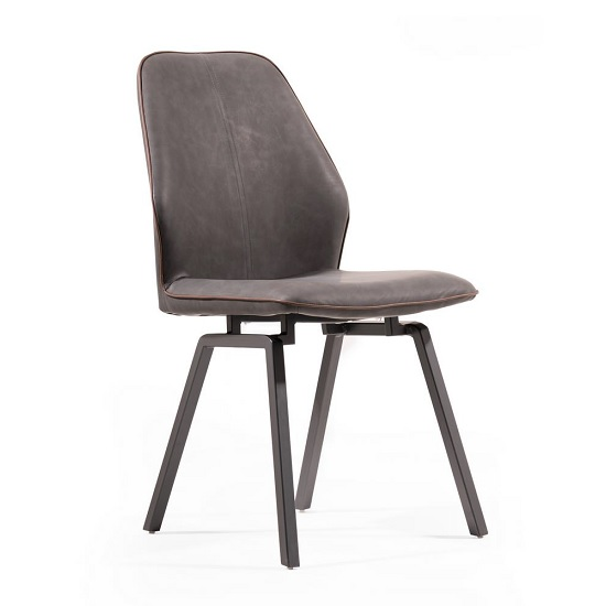 Sergio Dining Chair In Dark Grey Faux Leather With Metal Legs