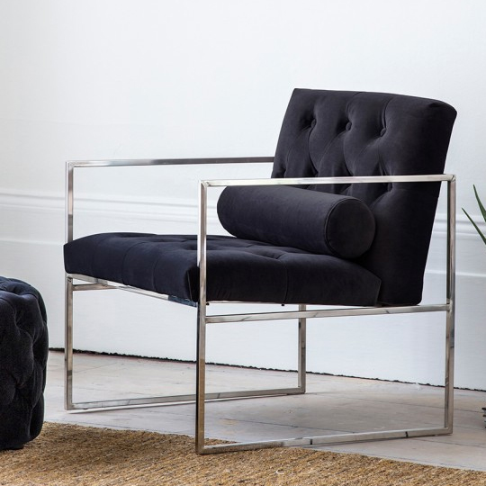 Sergio Jet Velvet Bedroom Armchair With Metal Frame