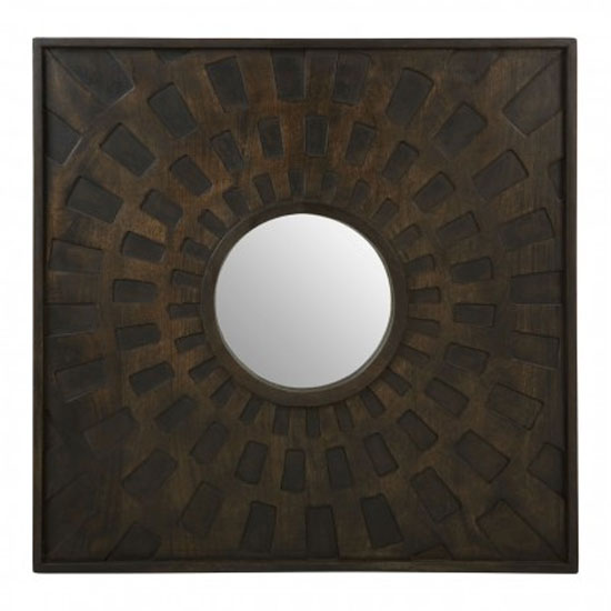 Seri Square Wall Bedroom Mirror In Weathered Brown Frame