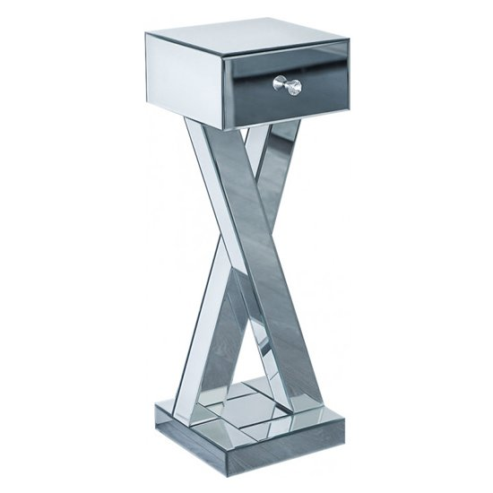 Sestu Mirrored Wooden Bedside Table In Silver_2