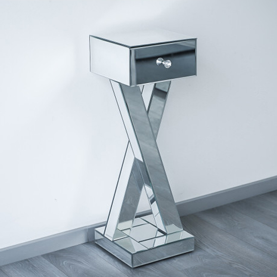 Sestu Mirrored Wooden Bedside Table In Silver_1