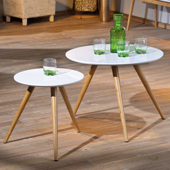 Phillis White Gloss Finish Round Shape Set Of 2 Side Tables