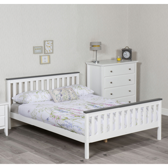 Setae Wooden Double Bed In White And Grey