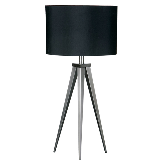 Setrona Black Fabric Shade Table Lamp With Nickel Tripod Base