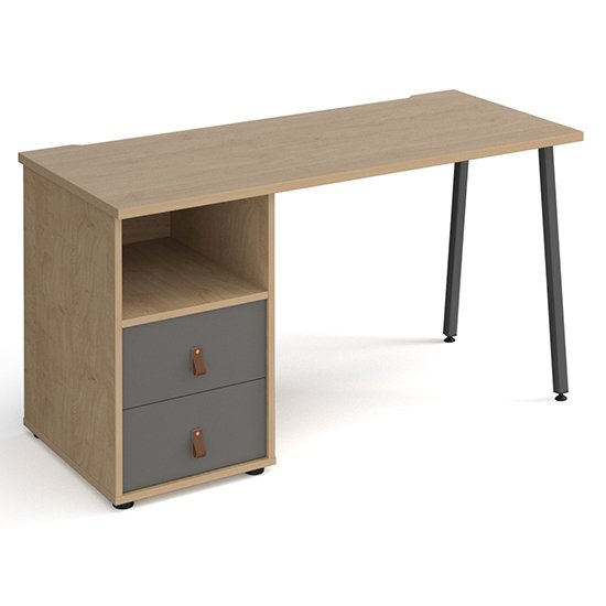 Sevan Computer Desk In Kendal Oak With 2 Onyx Grey Drawers
