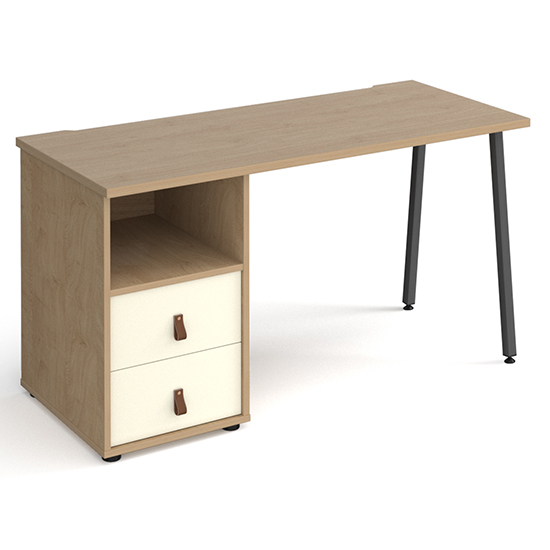 View Sevan computer desk in kendal oak with 2 white drawers