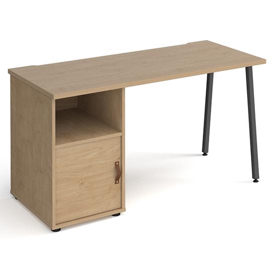 View Sevan wooden computer desk in kendal oak with kendal oak door
