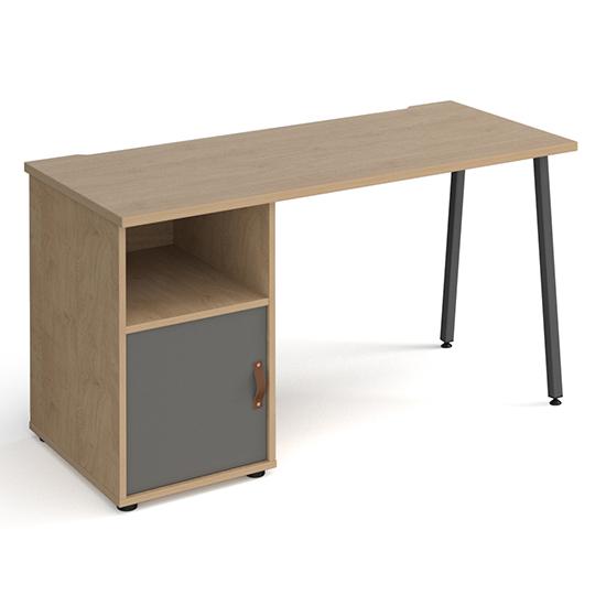 View Sevan wooden computer desk in kendal oak with onyx grey door