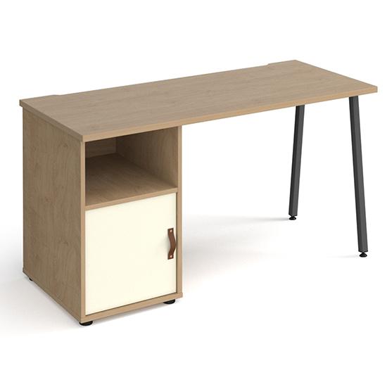 View Sevan wooden computer desk in kendal oak with white door