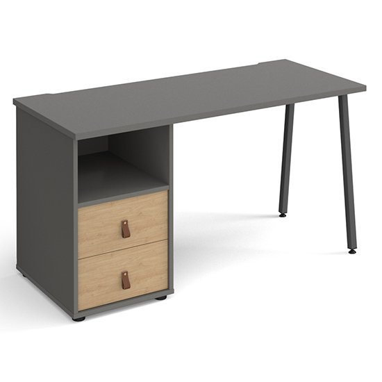 Sevan Computer Desk In Onyx Grey With 2 Kendal Oak Drawers
