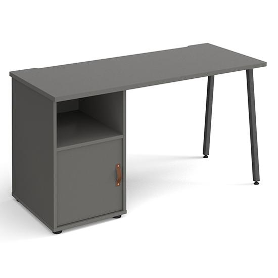 View Sevan wooden computer desk in onyx grey with onyx grey door