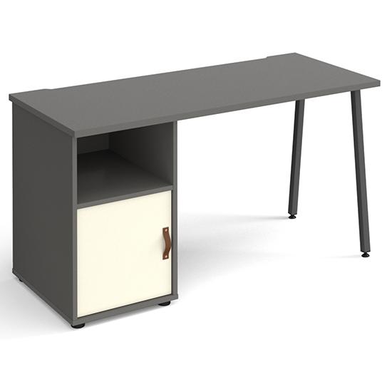 View Sevan wooden computer desk in onyx grey with white door
