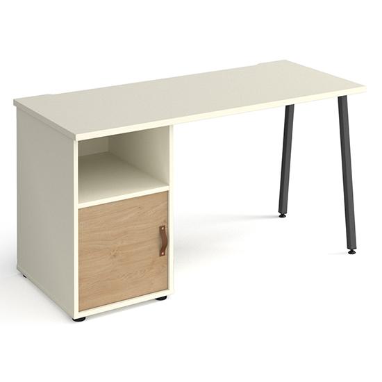 View Sevan wooden computer desk in white with kendal oak door