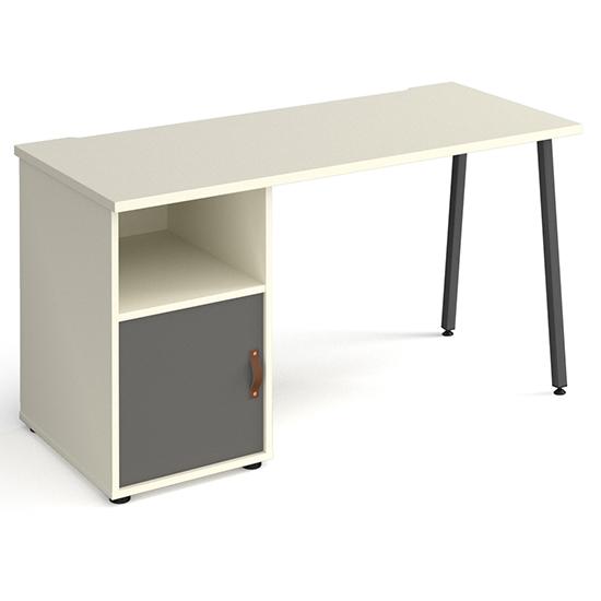 View Sevan wooden computer desk in white with onyx grey door