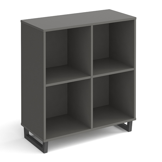 Sevan Low Wooden Shelving Unit In Onyx Grey With 4 Shelves