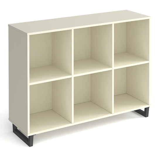 Sevan Low Wooden Shelving Unit In White With 6 Shelves