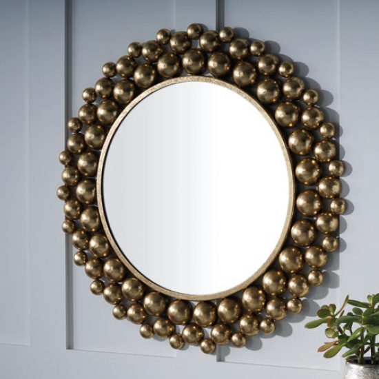 Severn Contemporary Wall Mirror Round In Gold