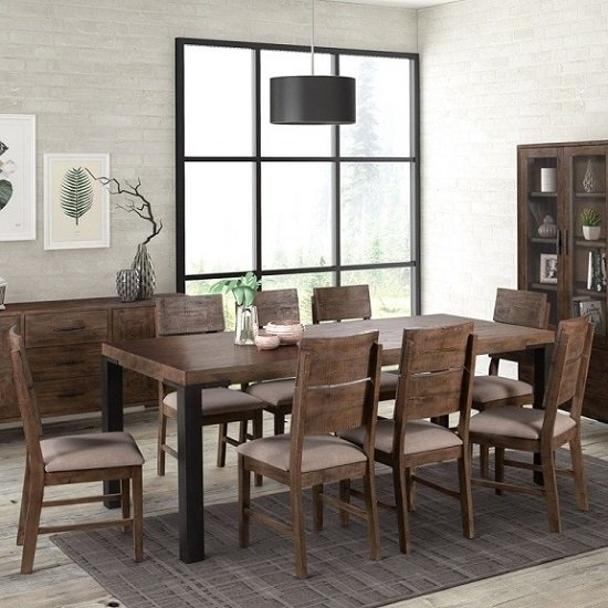 Sevilla Dining Table In Dark Pine Finish With Six Dining Chairs