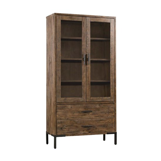 Sevilla Display Cabinet In Dark Pine With 2 Doors And 2 Drawers
