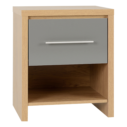 Seville 1 Drawer Bedside Cabinet In Grey High Gloss