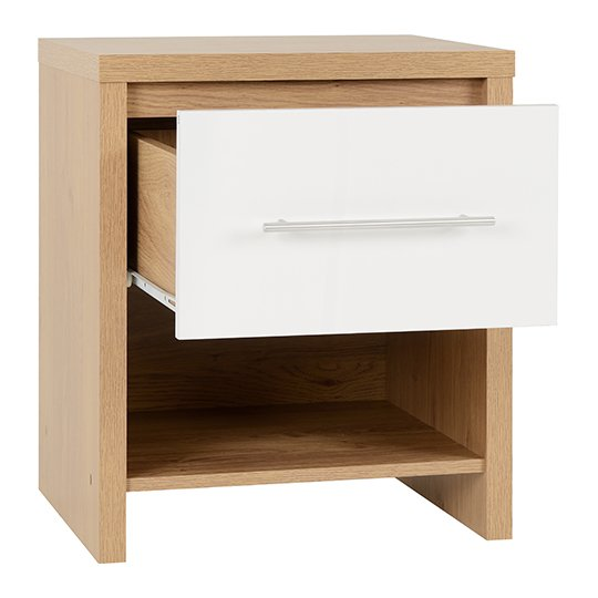 Seville 1 Drawer Bedside Cabinet In White High Gloss_2