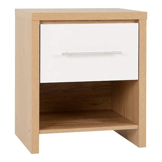 Seville 1 Drawer Bedside Cabinet In White High Gloss