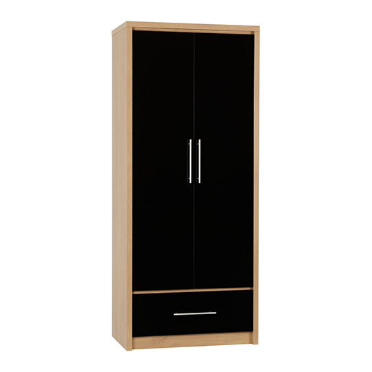 Seville Wardrobe In Black High Gloss With 2 Doors 1 Drawer