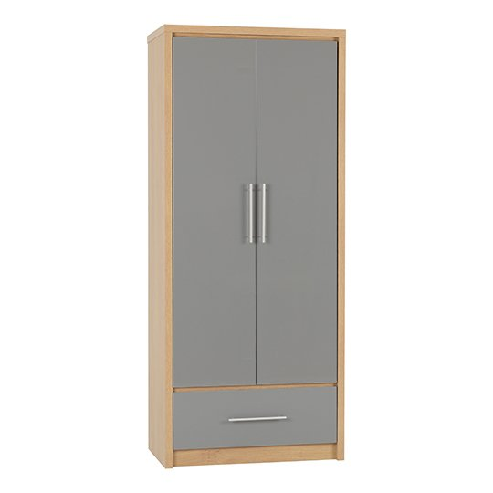 Seville Wardrobe In Grey High Gloss With 2 Doors 1 Drawer
