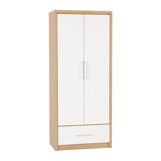 Seville Wardrobe In White High Gloss With 2 Doors 1 Drawer