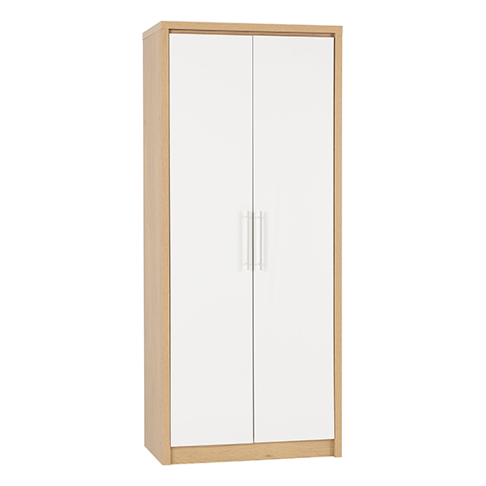 Seville Wardrobe In White High Gloss With 2 Doors