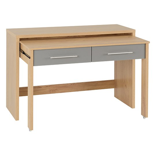 Seville Slider Desk In Grey Gloss With 2 Drawers_2