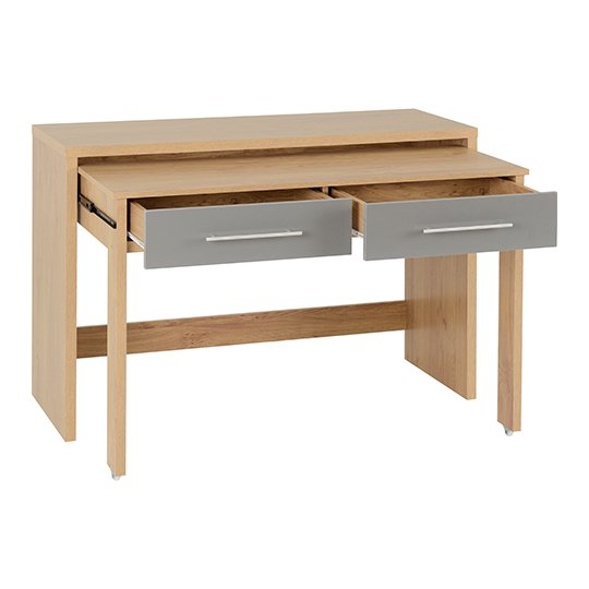 Seville Slider Desk In Grey Gloss With 2 Drawers_3