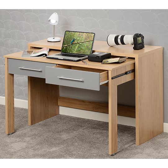 Seville Slider Desk In Grey Gloss With 2 Drawers_4