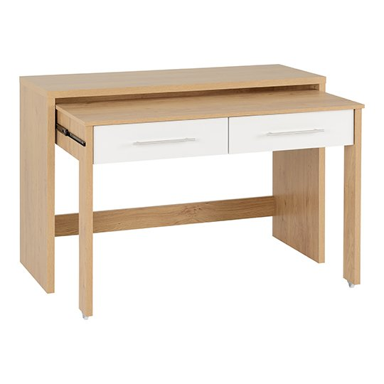 Seville Slider Desk In White Gloss With 2 Drawers_2