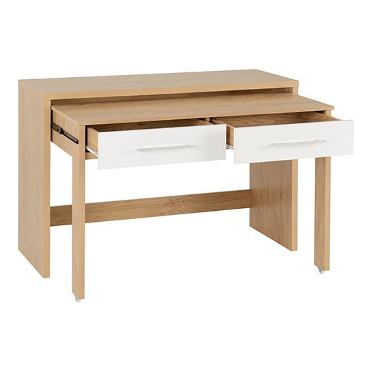 Seville Slider Desk In White Gloss With 2 Drawers_3