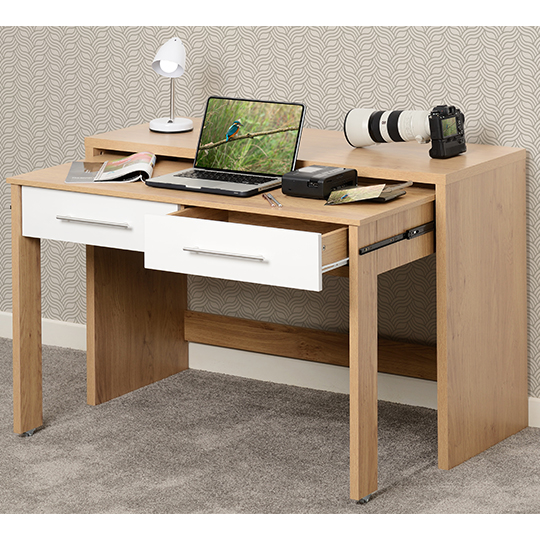 Seville Slider Desk In White Gloss With 2 Drawers_4
