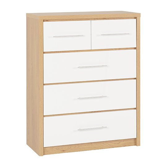 Seville Wooden Large Chest OF Drawers In White High Gloss