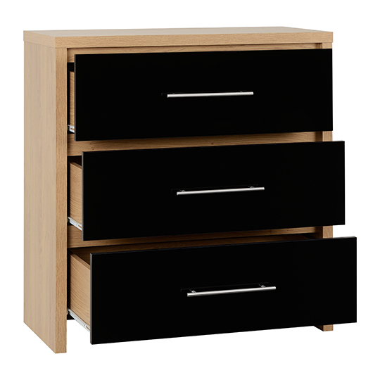Seville Wooden Small Chest Of Drawers In Black High Gloss_2