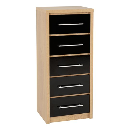 Seville Wooden Narrow Chest OF Drawers In Black High Gloss