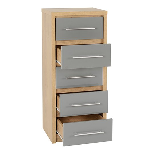 Seville Wooden Narrow Chest OF Drawers In Grey High Gloss_2