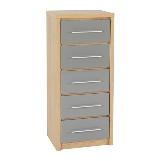 Seville Wooden Narrow Chest OF Drawers In Grey High Gloss_1