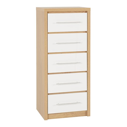 Seville Wooden Narrow Chest OF Drawers In White High Gloss