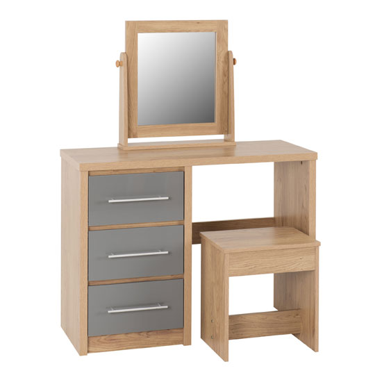 Seville Dressing Table Set In Grey High Gloss And Light Oak_2