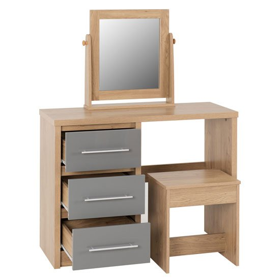 Seville Dressing Table Set In Grey High Gloss And Light Oak_3