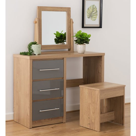 Seville Dressing Table Set In Grey High Gloss And Light Oak